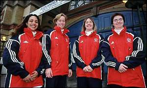 The GB teams: Jacqui Davies and Cheryl Done from GB1 and Claire Nex (who was not selected) and Michelle Coy from GB2