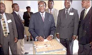 President Mugabe casting his ballot at last year's parliamentary election