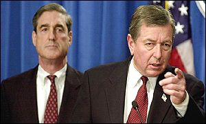 FBI Director Robert Mueller with US Attorney General John Ashcroft at a press conference