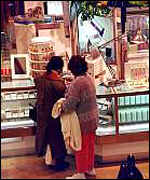 Women shopping in US department store