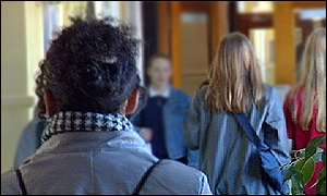 pupils in school corridor