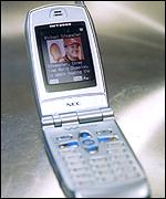 Sleek, silver IMT 2000 NEC handsets, MMO2