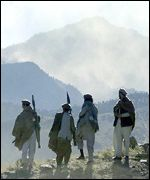 Anti-Taleban fighters and Tora Bora mountains