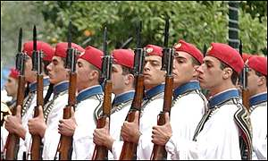 Members of the Greek presidential guard - the Evzones