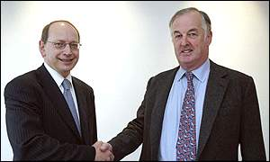 Ben Verwaayen (left) with BT chairman Sir Christopher Bland