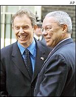 British Prime Minister Tony Blair with US Secretary of State Colin Powell  in London