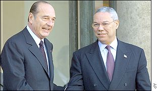 French President Jacques Chirac (left) with US Secretary of State Colin Powell  in Paris