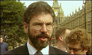 Sinn Fein President Gerry Adams outside the Houses of Parliament in 1996