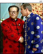 Chinese President Jiang Zemin with U.S. President George W. Bush