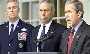 Joint Chiefs of Staff General Richard Myers, Secretary of State Colin Powell, President George W Bush