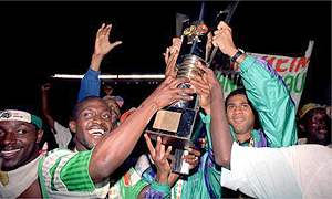Ivory Coast's team celebrate their Nations Cup win