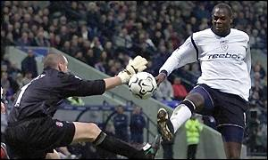 Bolton striker Michael Ricketts goes close