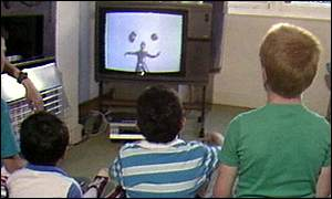 children in front of television