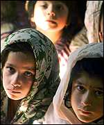 Afghan girls at a school in Peshwar: