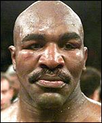 Evander Holyfield pictured as the judges' verdict was announced