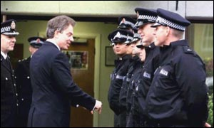 Tony Blair inspects police recruits