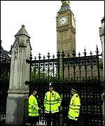 Police guard the Houses of Parliament