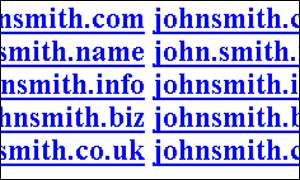 A sample of possible domains for John Smith, BBC