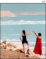 Tourists by the Dead Sea