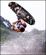 A wakeboarder in action