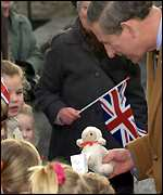 Prince Charles with local children in Stainforth