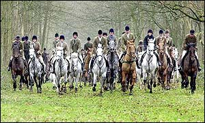 The Beaufort Hunt met in Badmington
