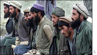 Captured al-Qaeda fighters at the Tora Bora cave complex in Afghanistan