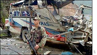 Wreckage of bus after ELN attack