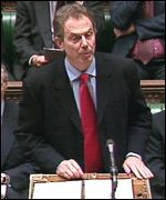 Tony Blair in the Commons on Monday