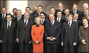 Tony Blair with other EU leaders in Laeken