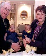 Alan and Judith Kilshaw with the net babies