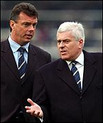 Leeds boss David O'Leary and Peter Ridsdale