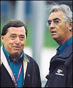 Renault Sport president Partrick Faure and team boss Flavio Briatore