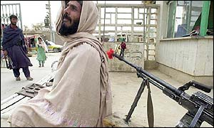 Guard outside the Mirwais hospital in Kandahar