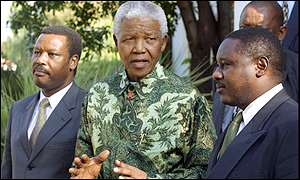 President Pierre Buyoya, Nelson Mandela and opposition leader Jean Mini