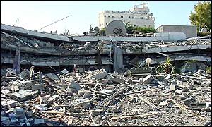 Bombed police headquarters in Gaza