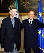 Hamid Karzai and Silvio Berlusconi