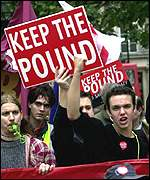 A protest in favour of saving the pound
