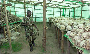 Human skulls from the Rwandan genocide