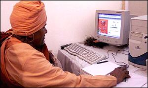 Sadhu using a computer