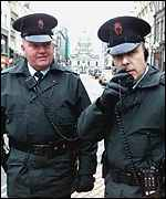 RUC officers on the street in Belfast