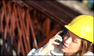 Women engineer on phone
