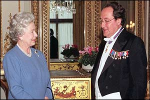 Queen Elizabeth receiving French ambassador Daniel Bernard