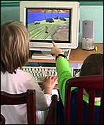 children using pc game