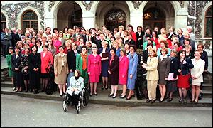 Tony Blair with Labour's women MPs in 1997