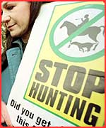 Woman protesting against fox hunting