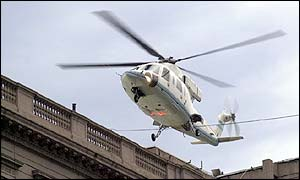 The helicopter carrying President Fernando De la Rua, departs Buenos Aires Government House