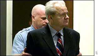 Slobodan Milosevic appearing at the UN war crimes tribunal