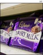 Cadbury's dairy milk chocolate on a shop shelf, AP