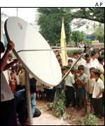 Satellite dish and children   AP